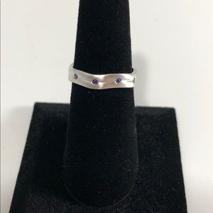Amethyst Wavy Brushed 925 Sterling Silver Ring